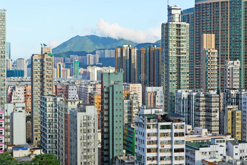 Hong-Kong apretó el edificio foto de archivo
