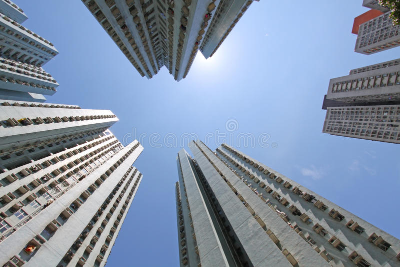 Hong-Kong apretó los apartamentos de la cubierta imagen de archivo libre de regalías