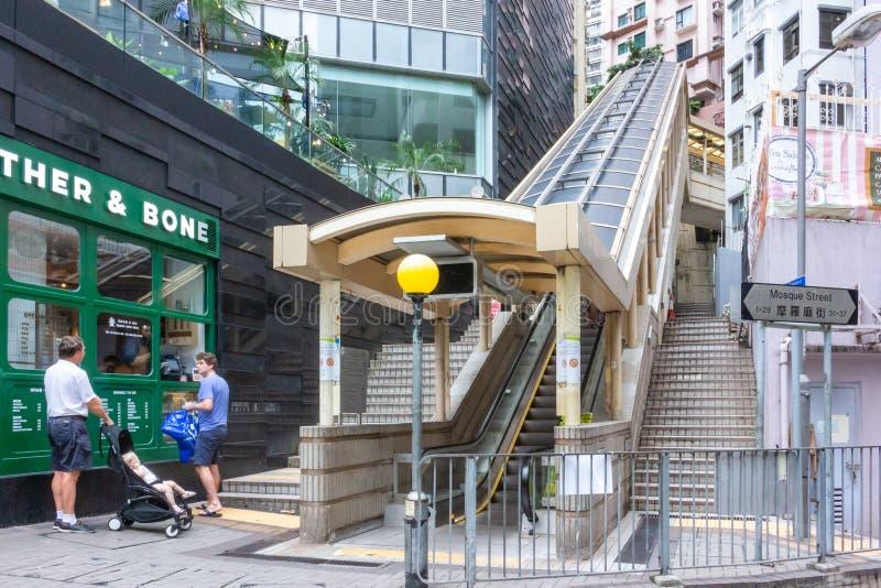Central-Mid-Levels escalator in Hong Kong stock photos