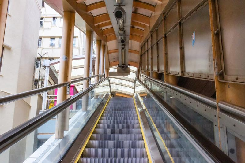 Central-Mid-Levels escalator in Hong Kong royalty free stock image