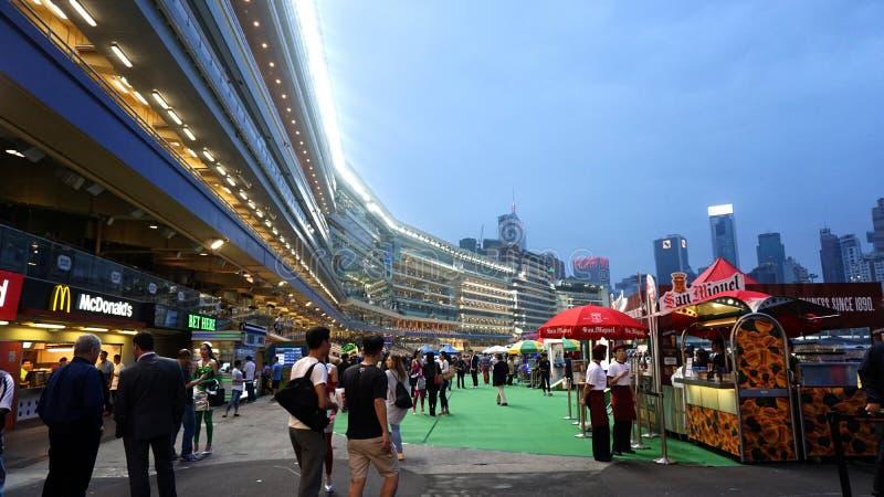 Hong Kong - April 2016: Hong Kong, Legal gambling in Happy Valley horse racecourse game, jockey club at night. stock image
