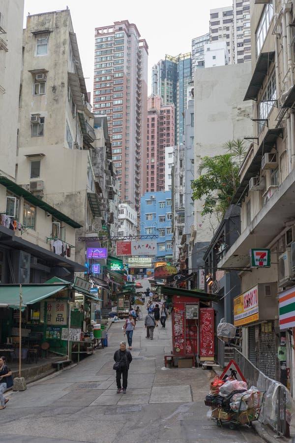 SoHo Up Hill. Hong Kong - April 22, 2017: Up Hill Walking Street at SoHo in Central, Hong Kong, China royalty free stock photos