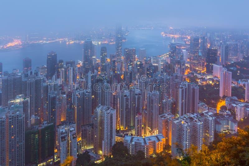 Hong Kong as cenas, porto de victoria da opinião máxima do pássaro, imagens de stock royalty free