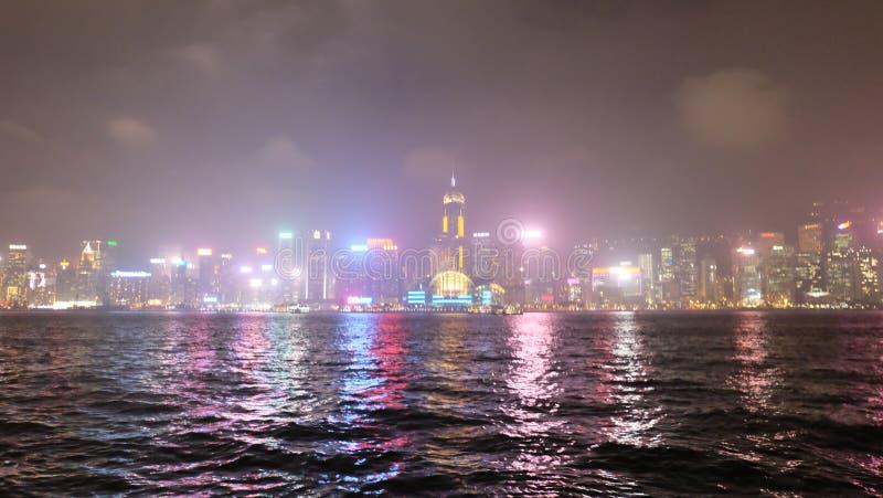 Hong Kong Asia Central District laser show stock photos