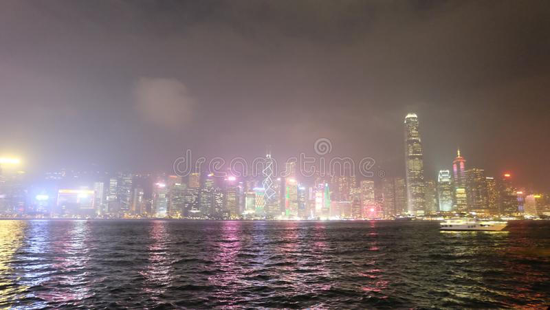 Hong Kong Asia Central District laser show skyscraper high-rise buildings royalty free stock image