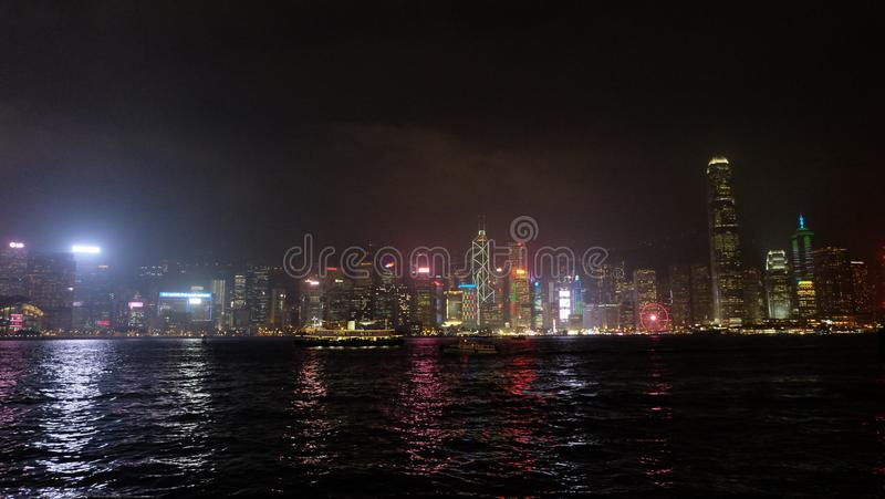 Hong Kong Asia Central District laser show stock photography