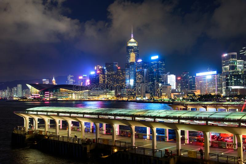 Hong Kong - August 8, 2018: Hong Kong island central harbor and. Hong Kong - August 8, 2018: Hong Kong island downtown central harbor and downtown modern stock images