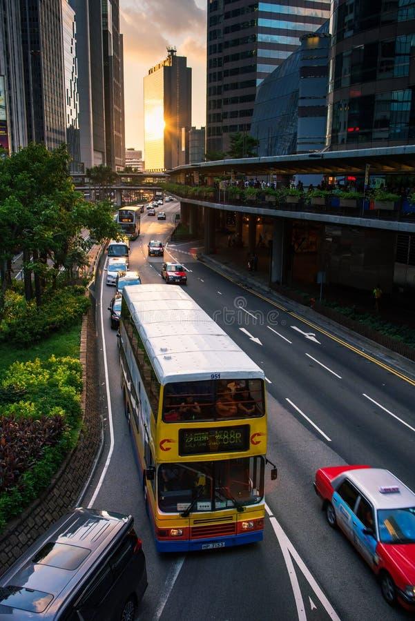 Hong Kong - Augusti 8, 2018: Hong Kong Central plaza i centrum arkivbild