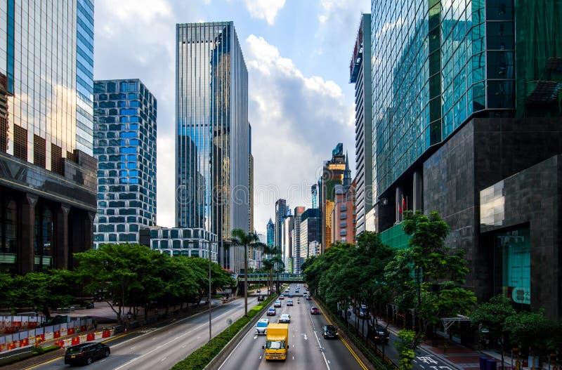 Hong Kong - Augusti 9, 2018: Morgontrafik i Hong Kong downtow royaltyfri foto