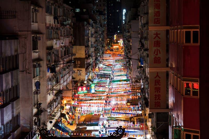 Hong Kong - Augustus 7, 2018: De nachtmarkt van de tempelstraat in Hong K royalty-vrije stock foto