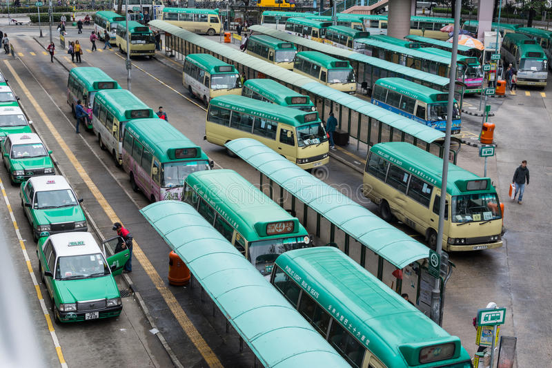 Hong Kong autobusu, taxi stacja/ zdjęcie royalty free