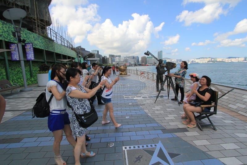 Hong Kong The Avenue av stjärnor royaltyfri fotografi