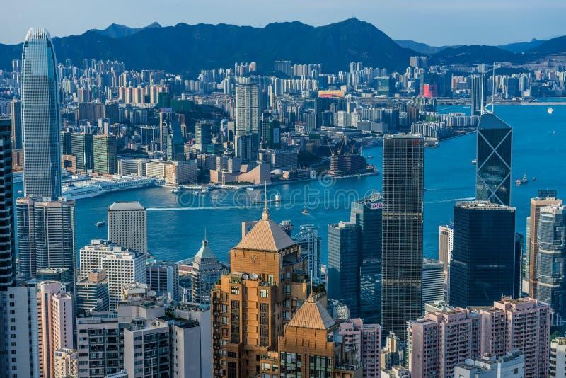 Hong Kong Bay Central horisontcityscape arkivfoton