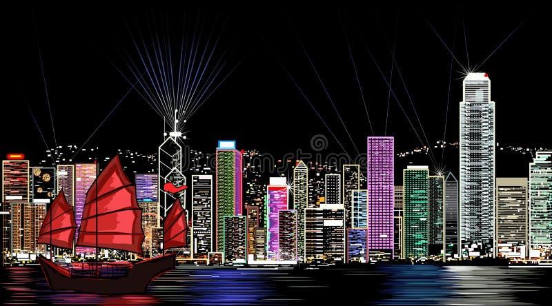 Hong Kong bij nacht vector illustratie
