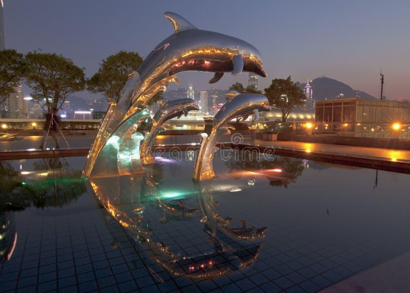 Hong Kong bij nacht van de Veerbootterminal van China in China Hong Kong City royalty-vrije stock afbeeldingen