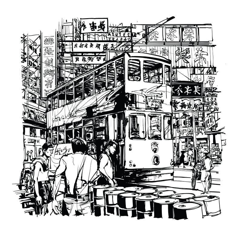 Hong Kong, bonde na rua ilustração royalty free