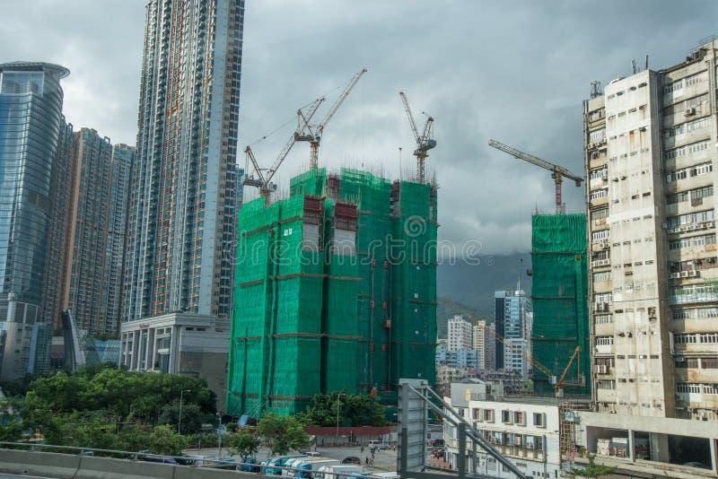 Hong Kong construction building apartment blocks royalty free stock photo