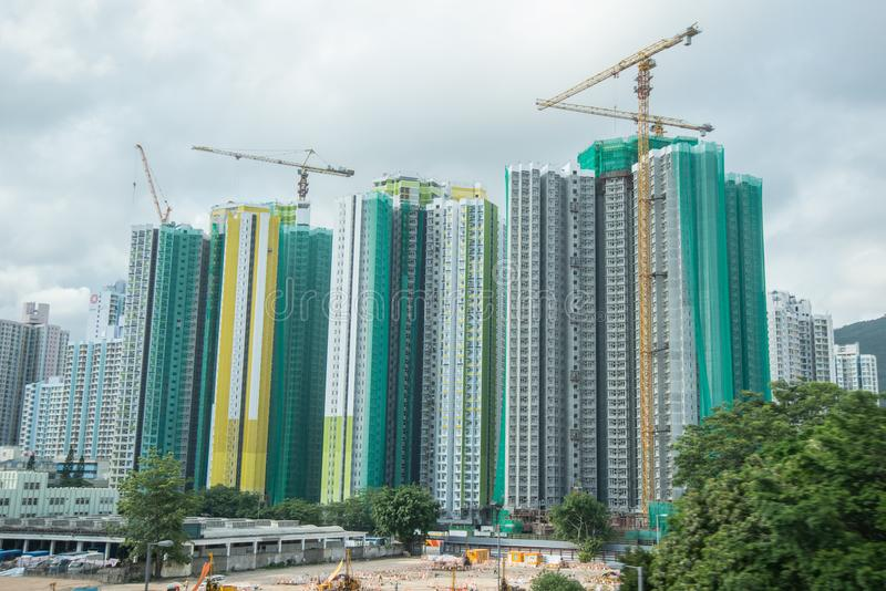 Hong Kong construction building apartment blocks stock photo