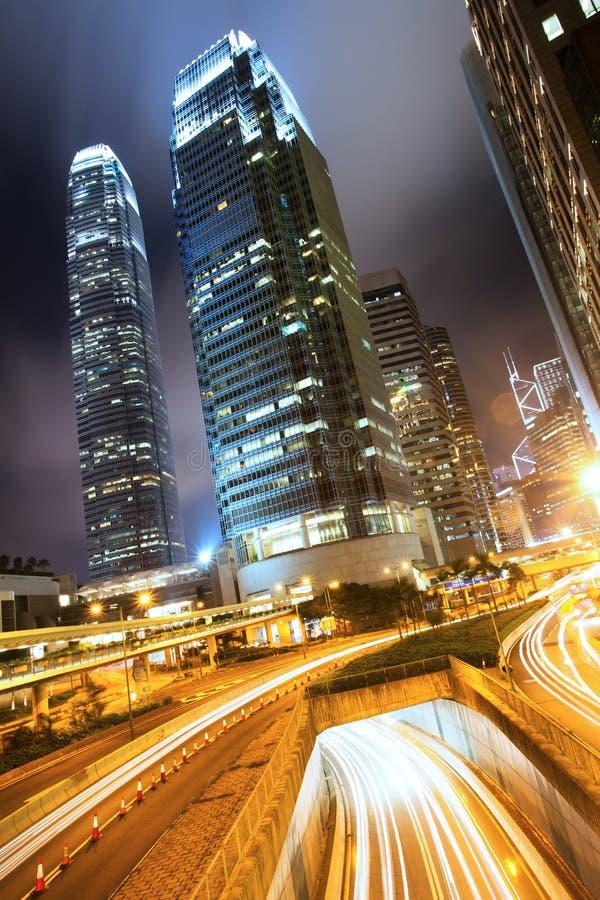 Hong Kong Business Center la nuit images stock