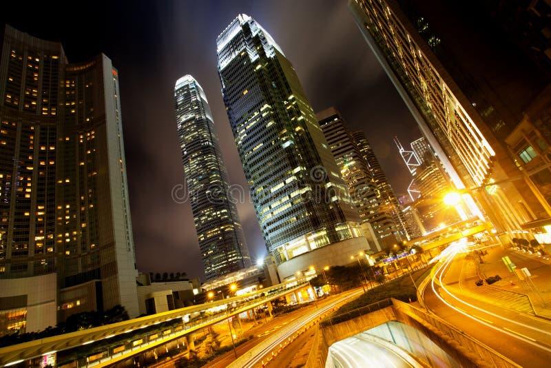 Hong Kong Business Center na noite foto de stock royalty free