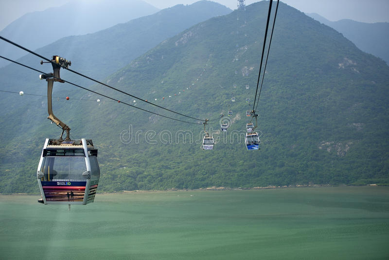 Hong Kong Cable Car no sibilo de Ngong, Hong Kong foto de stock royalty free