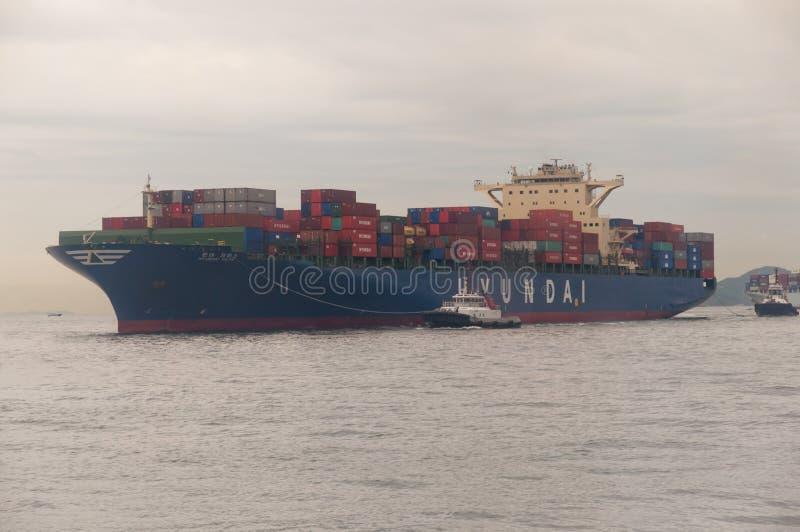 Hong kong cargo ship stock photo