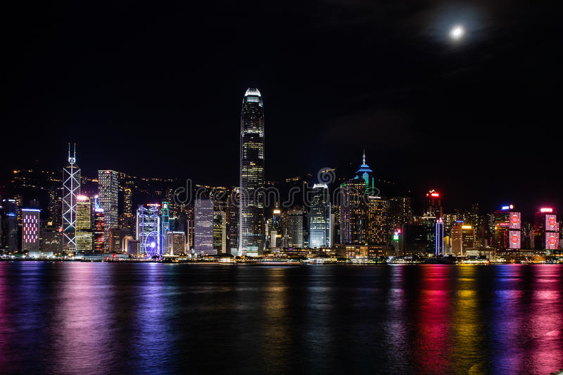 Hong Kong Central Harbor view by night. From Kowloon Bay stock images