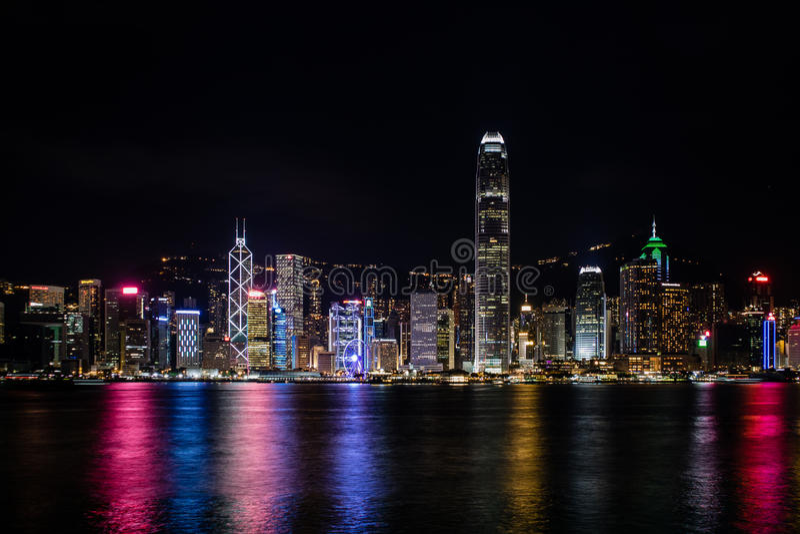 Hong Kong Central Harbor view by night. From Kowloon Bay royalty free stock photos