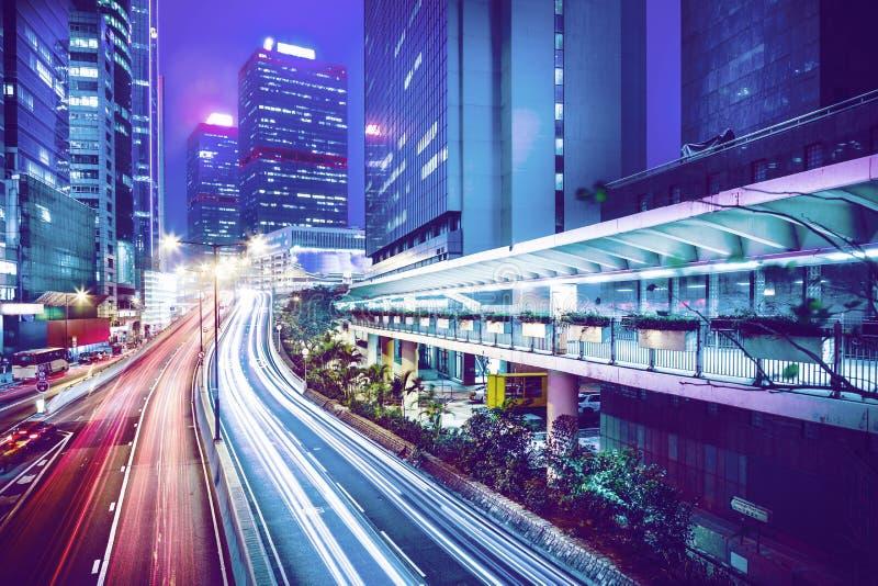 Hong Kong central på natten royaltyfri bild