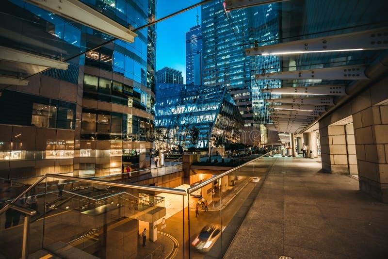 Hong Kong Central Street Scene at night. Aug 18, 2017 - Hong Kong Central Street Scene at night stock photography