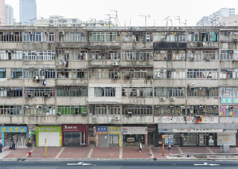 Old residential building in Hong Kong royalty free stock image
