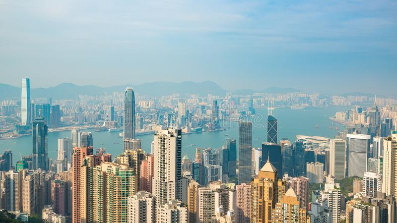 HONG KONG, CHINA - April 19, 2018. View of harbor and skyscrapers of Hong Kong from Victoria Point.  stock photos