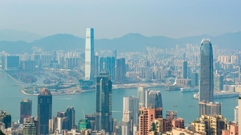 HONG KONG, CHINA - April 19, 2018. View of harbor and skyscrapers of Hong Kong from Victoria Point.  royalty free stock photo