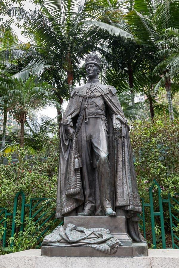 HONG-KONG, CHINA/ASIA - 27 DE FEBRERO: Estatua de George VI en Hongkon fotos de archivo