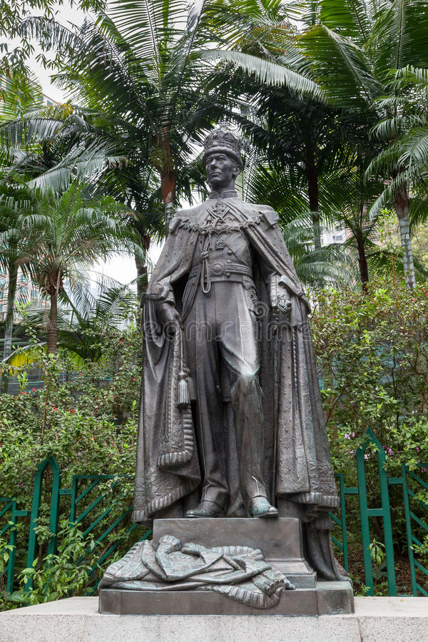HONG KONG CHINA/ASIA - FEBRUARI 27: George VI staty i Hongkon arkivfoton