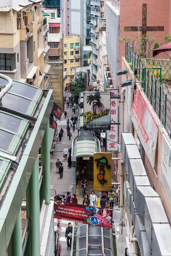 HONG KONG CHINA/ASIA - FEBRUARI 27: Stads- plats i den Hong Kong chien royaltyfria foton