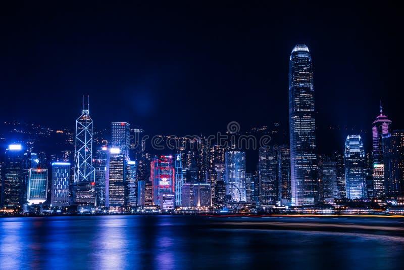 Hong Kong Skyline at Night royalty free stock image