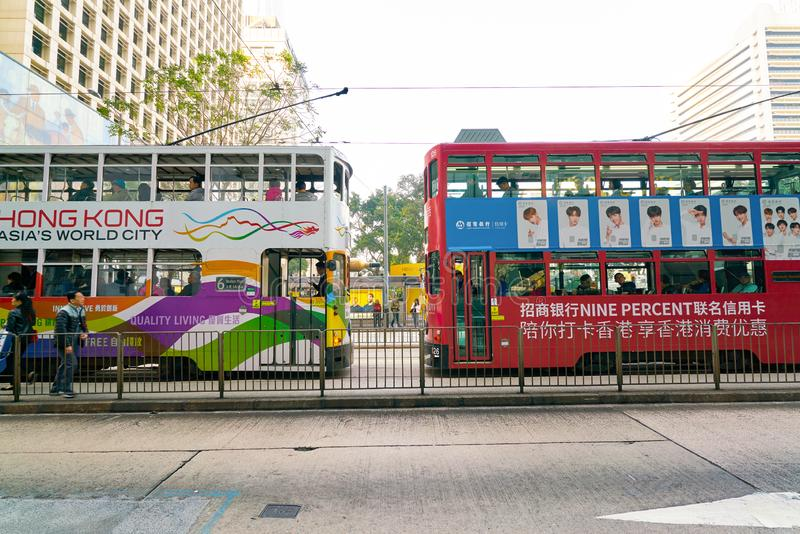 Hong Kong. CHINA - CIRCA JANUARY, 2019: typical HKT double-decker trams in  in the daytime royalty free stock photo