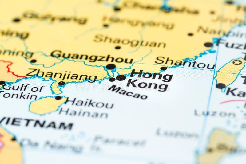 Hong Kong China. Close up of the city of Hong Kong on a world map royalty free stock photo