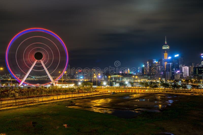 Hong Kong, China - 20 de abril de 2019: Roda de Ferris fotos de stock royalty free