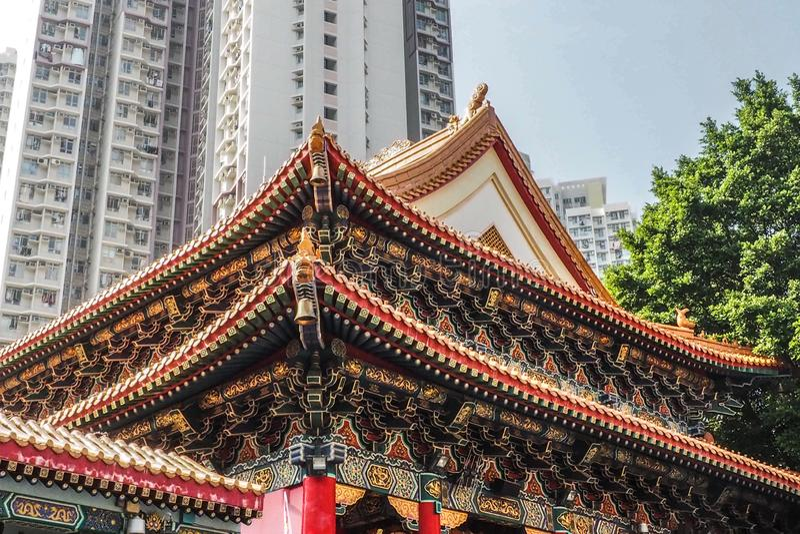 HONG KONG, CHINA - DEC 8,2016: O telhado Wong Tai Sin do templo é uma deidade chinesa popular com o poder da cura em dezembro 8,2 imagens de stock