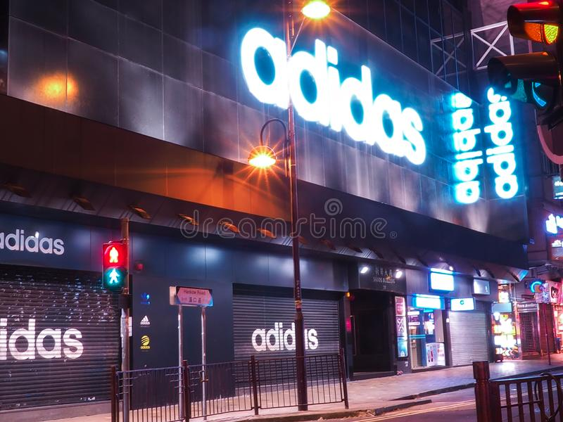 Hong Kong, China - December 7, 2016 :  Top brand Adidas sportswear in the city of Hong Kong at the time of closing royalty free stock image