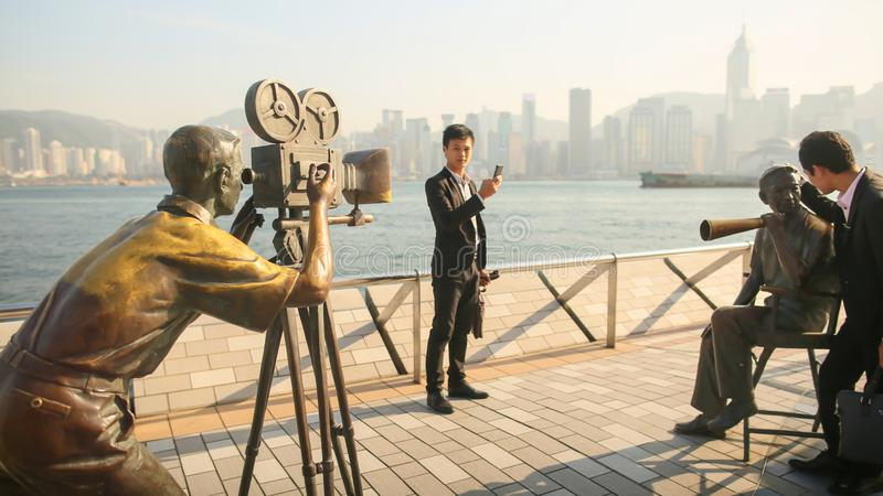 Hong Kong, China - January 1, 2016: Avenue of stars in Hong Kong on the waterfront. History of Cinematography in Hong royalty free stock photo