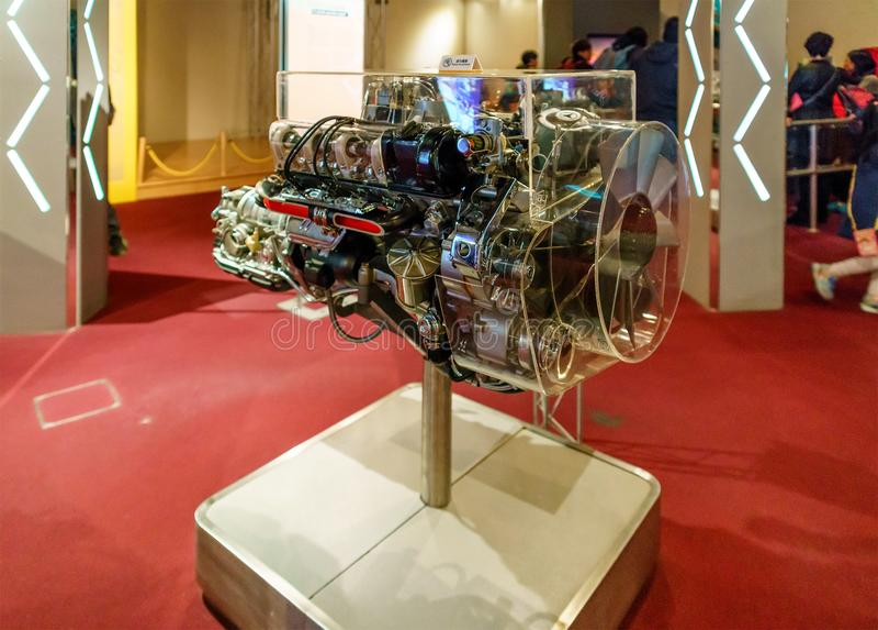Hong Kong, China - January 20, 2016: Hong Kong Science Museum interior view. Attraction emulates physical phenomena of internal. Combustion engine work. Motor royalty free stock image