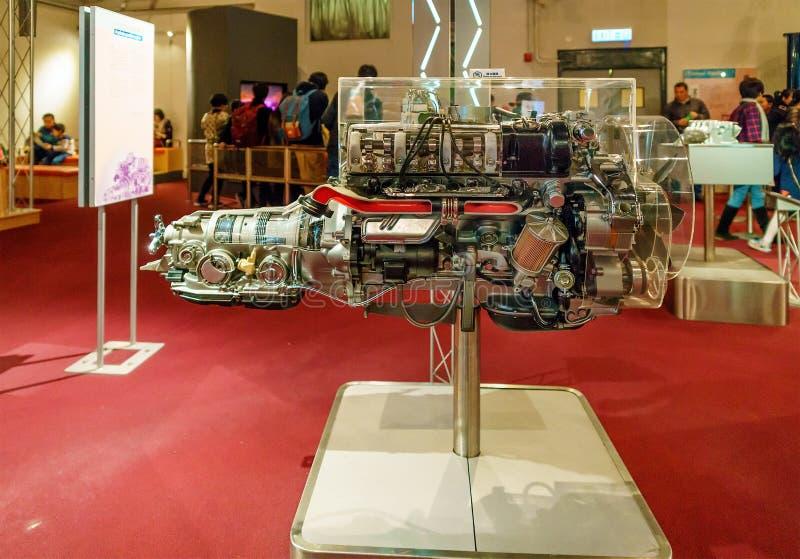 Hong Kong, China - January 20, 2016: Hong Kong Science Museum interior view. Attraction emulates physical phenomena of internal. Combustion engine work. Motor stock images