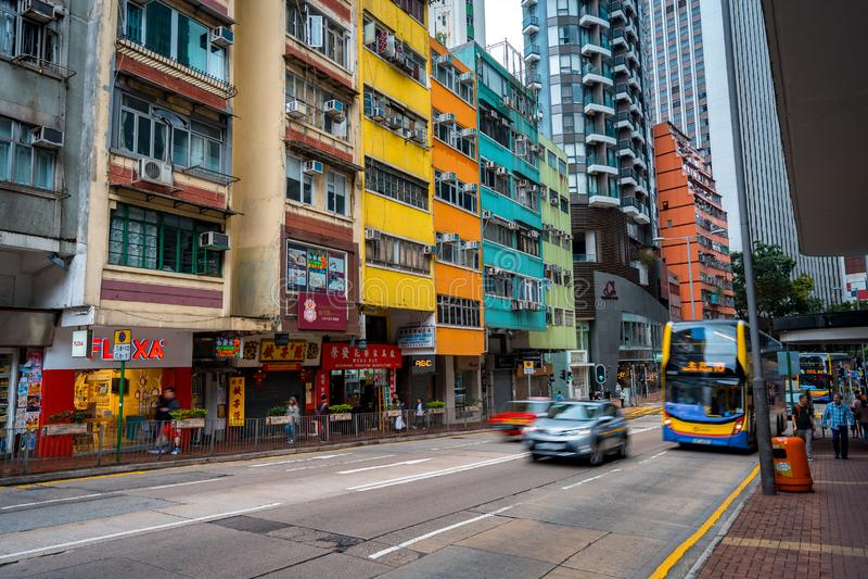 Hong Kong, China - Kleurrijke stadsstraten stock fotografie