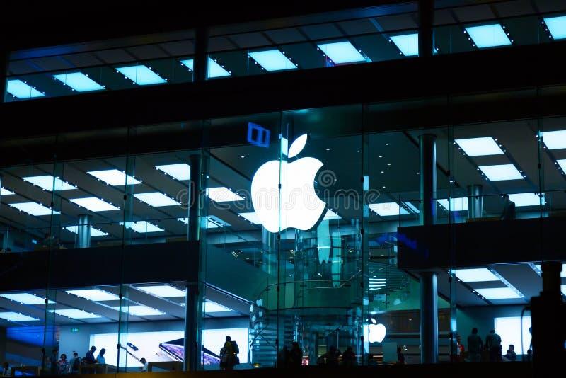 Hong Kong, China - mag, 2019: Apple Store op het gebied van de Verhoogde wegbaai De Illustratie van Inc is een Amerikaans multina stock foto