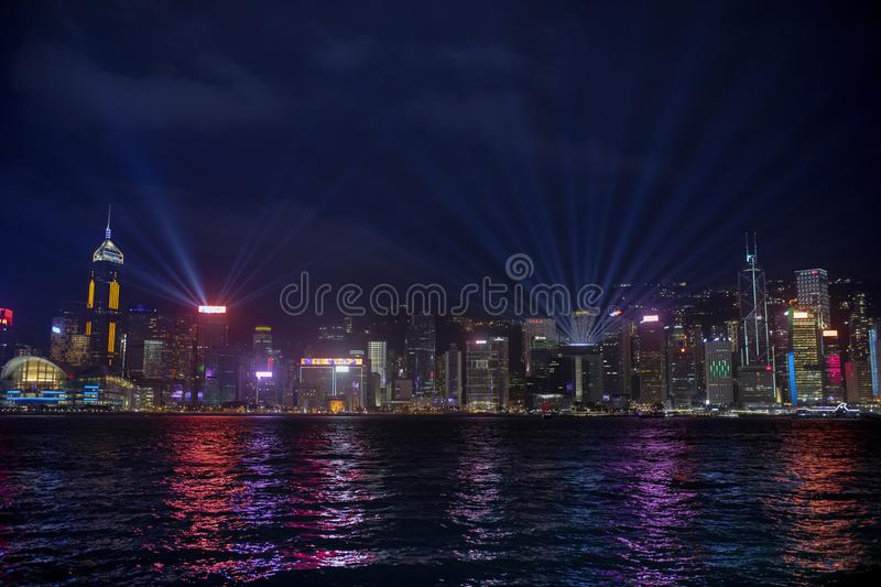 Hong kong - china - march16,2019 : beautiful lighting at night in victoria harbour hong kong one of most popular traveling royalty free stock images