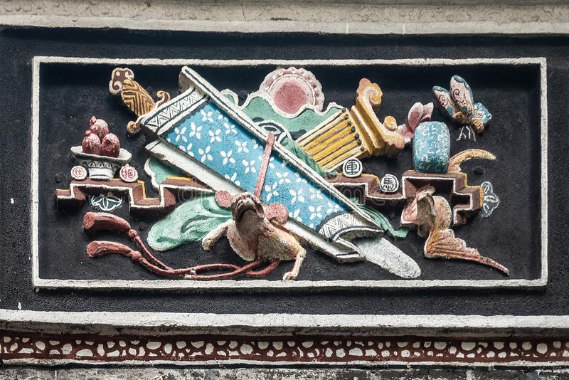 Mural at Man Mo Yi Tai Temple in Fu Shin Street, Hong Kong China stock photography