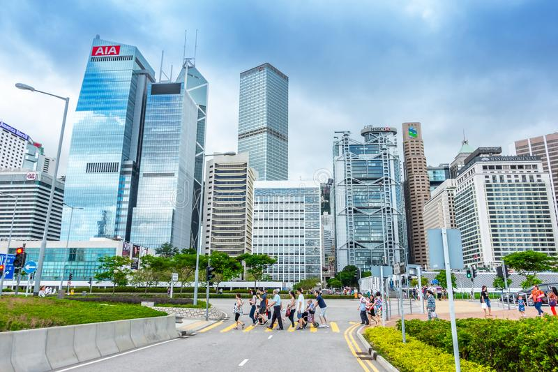 HONG KONG, CHINA - MAY 6, 2018 : Modern office buildings stock photos